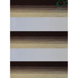 پرده زبرا ساده دو رنگ کرم و قهوه ای 0102-5016