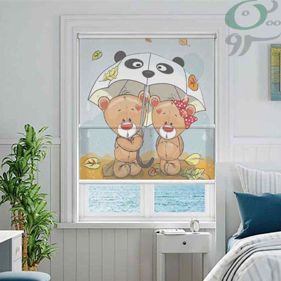 دبل شید تصویری طرح خرس دختر و پسر با چتر DO-A1005