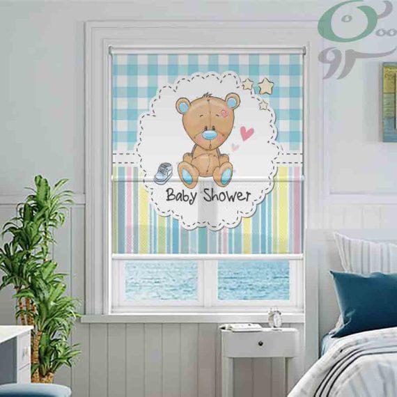 شب و روز طرح خرس و چهارخونه آبی کد A929