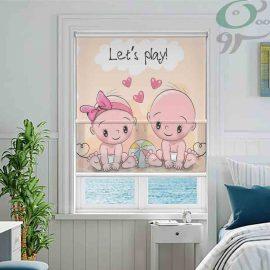 پرده شب و روز طرح دو نوزاد دختر و پسر A934