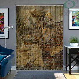 پرده لوردراپه تصویری طرح دیوار قدیمی و نوشته LO-PO154