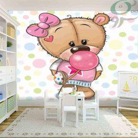 کاغذ دیواری پوستری طرح خرس و آدامس بادکنکی PO-A1014