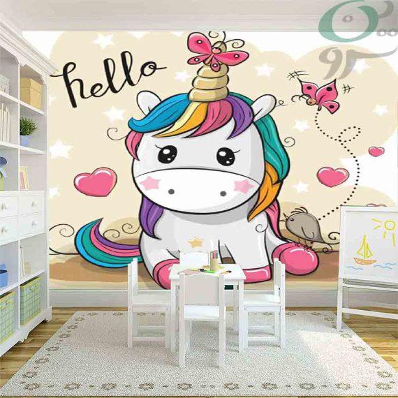 کاغذ دیواری پوستری طرح اسب شاخ دار PO-A1212
