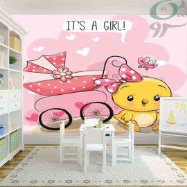 کاغذ دیواری کودک طرح جوجه دختر کد 950