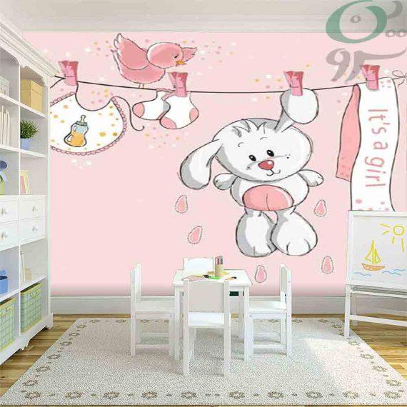 کاغذ دیواری پوستری کودک طرح خرگوش و بند رخت PO-A972