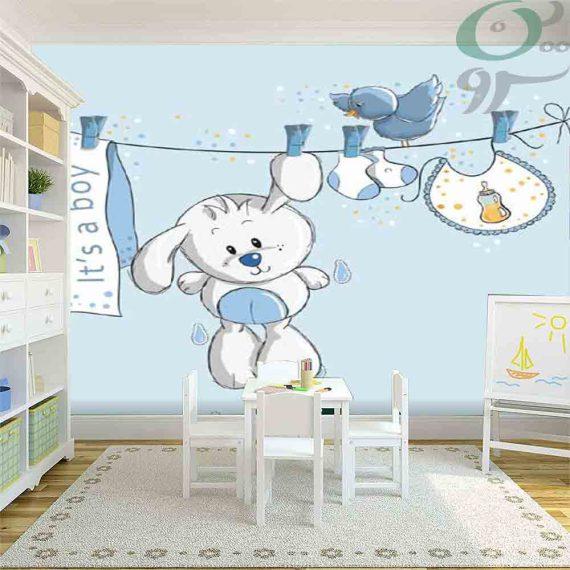 کاغذ دیواری پوستری آبی رنگ کودک طرح خرگوش PO-A952