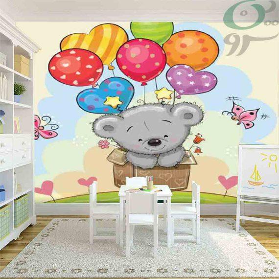 کاغذ دیواری پوستری کودک طرح خرس و بادکنک PO-A979