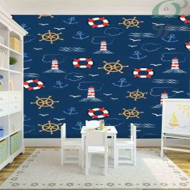 کاغذ دیواری پوستری آبی پر رنگ کودک طرح فانوس دریایی PO-A986