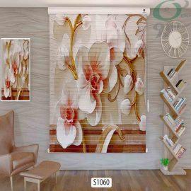 پرده سیلوئت تصویری سه بعدی طرح گل درشت S1060 حالت بسته