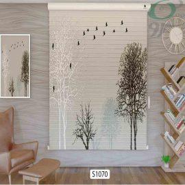 پرده سیلوئت تصویری سه بعدی طرح درخت و پرنده S1070 حالت بسته
