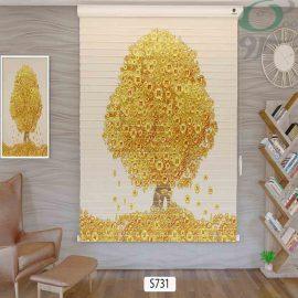 پرده سیلوئت چاپی طرح درخت طلایی حالت بسته