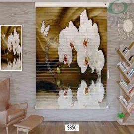 پرده سیلوئت تصویری سه بعدی گل سفید درشت S850 حالت بسته