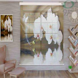 پرده سیلوئت تصویری سه بعدی گل سفید درشت S850 حالت باز