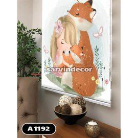 پرده شید مدل روباه مادر و دختر بچه