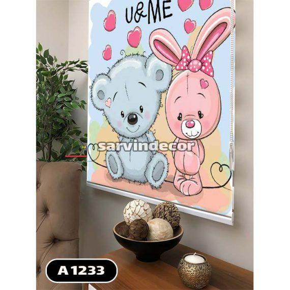 شید رول خرس آبی و خرگوش صورتی کنارهم