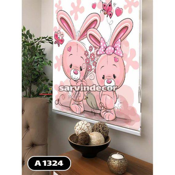 دو خرگوش صورتی کنار هم پرده شید کودک