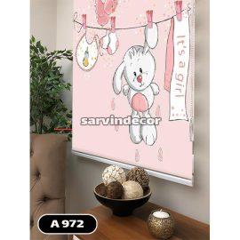 پرده شید مدل خرگوش دختر صورتی آویزان از طناب
