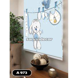 پرده شید رول کودک مدل خرگوش پسر آبی