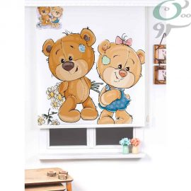 پرده شید رول کودک طرح خرس دختر و پسر SH-A1243