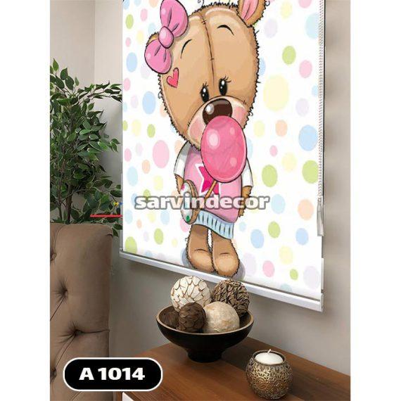 پرده اتاق نوزاد مدل خرس طرح دخترانه همراه با آدامس بادکنکی