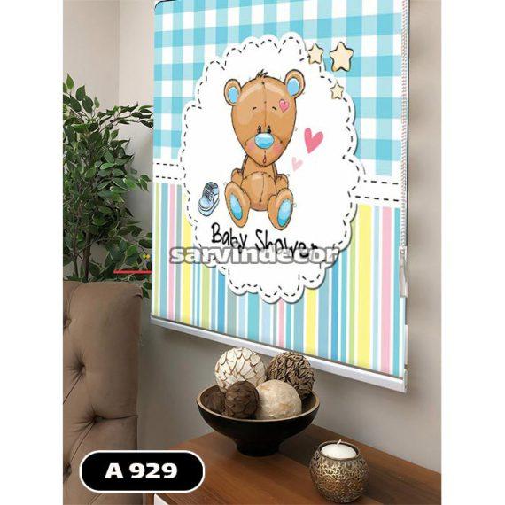 پرده اتاق کودک طرح خرس زمینه آبی چهرخانه پسرانه