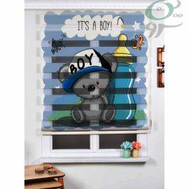 پرده زبرا کودک A925 طرح خرس و شیشه شیر
