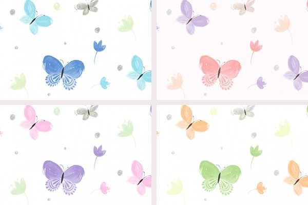 کاغذ دیواری کودک طرح پروانه رنگی