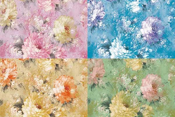 کاغذ دیواری آبرنگی گل درشت آلبوم D58
