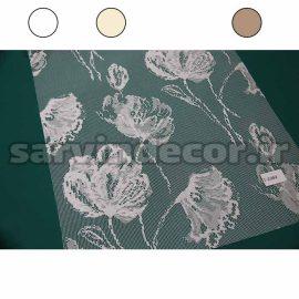 پرده شب و روز تور گل درشت سفید ، شیری و قهوه ای کد 2200